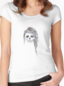 Skull with Braid Women's Fitted Scoop T-Shirt