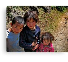 rural kids. nepal himalayas Canvas Print