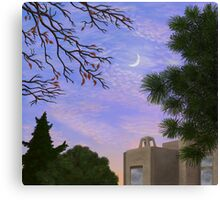 A View of the Moon at Twilight South of the Park Canvas Print