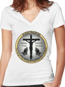 Pope Francis  Women's Fitted V-Neck T-Shirt