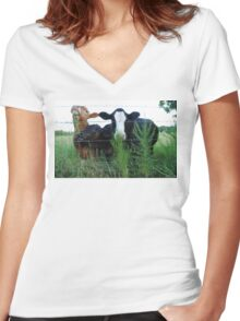 The Three MOOsketeers  Women's Fitted V-Neck T-Shirt