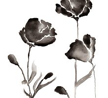 Black Watercolor Flowers by bekindly