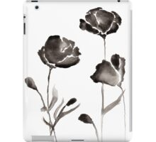 Black Watercolor Flowers iPad Case/Skin