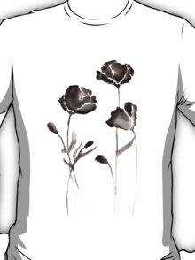 Black Watercolor Flowers T-Shirt