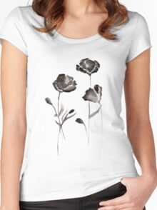 Black Watercolor Flowers Women's Fitted Scoop T-Shirt