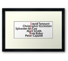 Doctor Who word art Framed Print