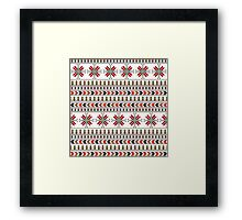 Traditional Romanian embroidery pixel Framed Print