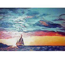 Vintage 70s Sunset Sailboat Painting Photographic Print