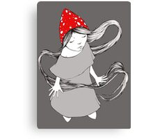 Little Gnome Girl with Mushroom Cap Canvas Print