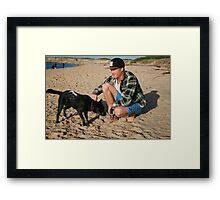 30. Chris & his Cattle-Staffy dog Bluey Framed Print