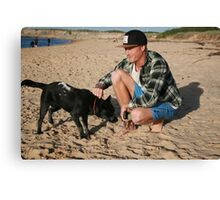 30. Chris & his Cattle-Staffy dog Bluey Canvas Print