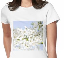 White Cherry Blossom Womens Fitted T-Shirt