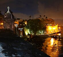 Night City View of Old San Juan by George Oze