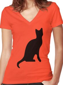 Halloween Black Cat Smooth Silhouette Women's Fitted V-Neck T-Shirt