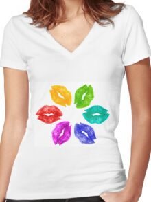 Color Kisses Women's Fitted V-Neck T-Shirt