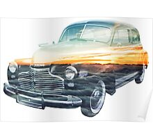 sunset vehicle double exposure Poster