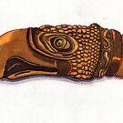 160 - MIZTEC EAGLE LIP ORNAMENT - DAVE EDWARDS - WATERCOLOUR & INK - 2006 by BLYTHART