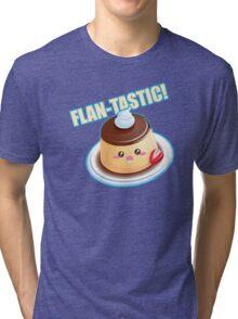 Cute Pun: Flan-tastic Flan Tri-blend T-Shirt