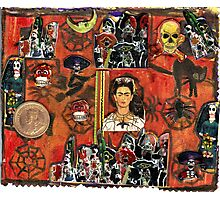 Frida Kahlo Celebrating Dias De La Muertos.. Photographic Print