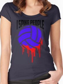 I SPIKE PEOPLE Volley Ball tshirt Women's Fitted Scoop T-Shirt