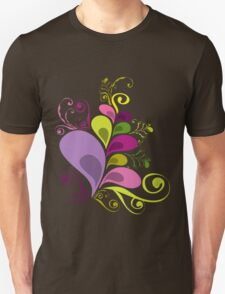 Colorful Floral Deco Leaves Graphics T-shirt T-Shirt