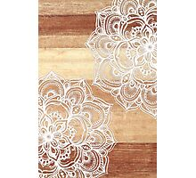 White Doodles on Blonde Wood Photographic Print