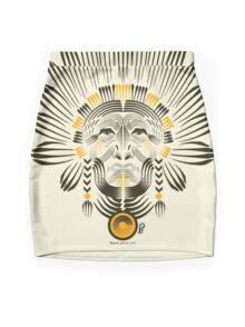 Portrait of American Indian  Mini Skirt