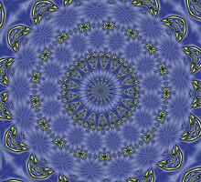 Blue and Yellow Abstract Kaleidoscope by taiche
