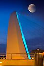 Millennium Bridge with Moon, Gateshead UK by David Lewins