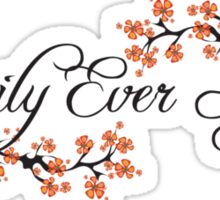 Black Script Happily Ever After Tropical Hibiscus Flower Fusion Swirls Sticker