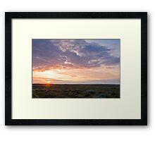 Sunset near Golden waterfall Framed Print