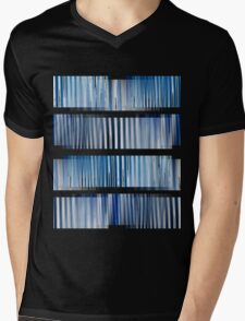 Blue Ripple Abstract Mens V-Neck T-Shirt
