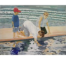 reflections of children on the beach  Photographic Print