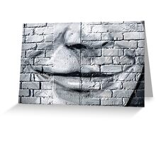 Graffiti smile on the textured brick wall Greeting Card