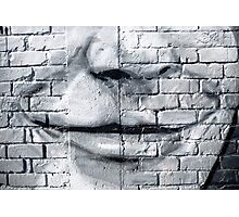 Graffiti smile on the textured brick wall Photographic Print