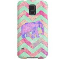 Whimsical Purple Elephant Mint Green Pink Chevron Samsung Galaxy Case/Skin