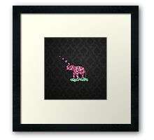 Retro Flower Elephant Pink Sakura Black Damask Framed Print