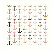 Vintage retro sailor girly floral nautical anchors Art Print
