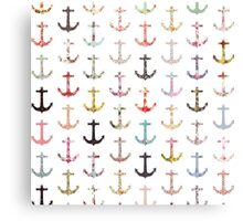 Vintage retro sailor girly floral nautical anchors Metal Print
