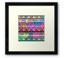Neon Pink Purple Bright Andes Abstract Aztec Pattern Framed Print