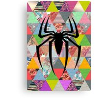 Spider-Man logo with hipster triangles Canvas Print