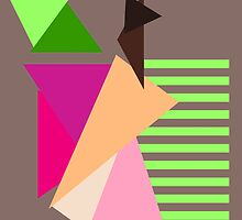 """""""Apple"""" Geometric Pastel Neon Lines Triangles Taupe Pink Melon Purple Green Hot Fuchsia by CanisPicta"""