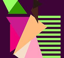 """""""Apple"""" Geometric Pastel Neon Lines Triangles Pink Melon Purple Green Hot Fuchsia by CanisPicta"""