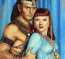 Yul Brynner and Anne Baxter Color Pencil  @ www.KeithMcDowellArtist.com  by © Keith McDowell, Artist