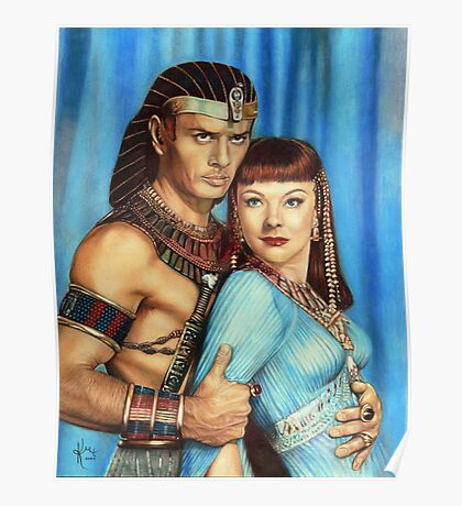 Yul Brynner and Anne Baxter Color Pencil  @ www.KeithMcDowellArtist.com  Poster