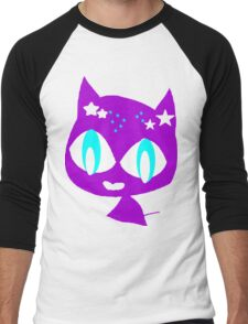 Purple kitten vetor art Men's Baseball ¾ T-Shirt