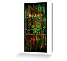 Hacker 1.1 - Knowledge is Freedom skull and matrix - Software, coding and hacking designs Greeting Card