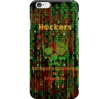 Hacker 1.1 - Knowledge is Freedom skull and matrix - Software, coding and hacking designs iPhone Case/Skin