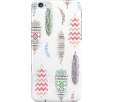 Feathers Pink Tribal Aztec Teal Chevron Pattern iPhone Case/Skin