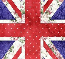 Vintage Red Polka Dots Floral UK Union Jack Flag by GirlyTrend
